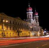 Synagoge nachts Stockfotografie