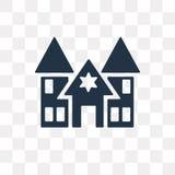 Synagoge vectordiepictogram op transparante achtergrond, Synago wordt geïsoleerd stock illustratie
