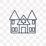 Synagoge vectordiepictogram op transparante lineaire achtergrond wordt geïsoleerd, royalty-vrije illustratie