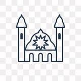 Synagoge vectorpictogram op transparante lineaire achtergrond, stock illustratie