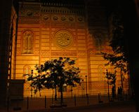 Synagogue in Budapest. A nightly picture of main synagogue in Budapest (Hungary Royalty Free Stock Images
