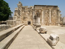 Synagogue in Capernaum. Ancient synagogue ruins in Capernaum in Israel Royalty Free Stock Photos