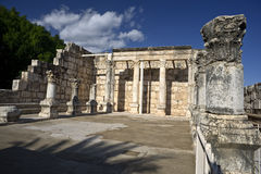 Synagogue Capernaum. The ancient synagogue at Capernaum from around the fourth or fifth century AD Royalty Free Stock Images