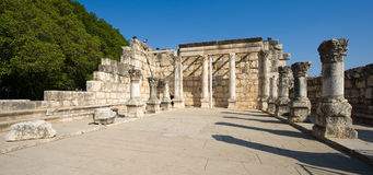 The synagogue of Capernaum Stock Photo