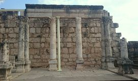 Synagogue in Capernaum on Sea of Galilee Stock Photos