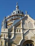Synagogue de brique construisant en construction en Hongrie photos libres de droits