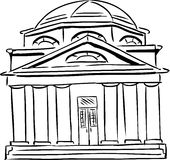 Synagogue with Domed Roof. Outlined synagogue sketch with curved windows and single door Royalty Free Stock Images