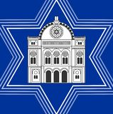 Synagogue drawing inside David star shape. Jewish religious symbolism. White synagoque silhouette on blue background. Royalty Free Stock Photography