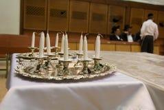 Synagogue and Hanukkah Candles Jewish Judaica royalty free stock photography