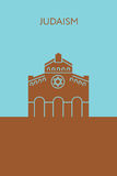 Synagogue icon. Judaism. Religious building. stock illustration