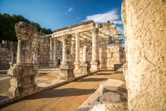 Synagogue in Jesus Town of Capernaum. Israel Royalty Free Stock Photos