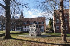 Synagogue memorial jewish monument hildesheim germany. Clear day royalty free stock photography