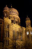 Synagogue at night. Neue Synagoge (New Synagogue) illuminated for display at night in Berlin Germany Stock Images