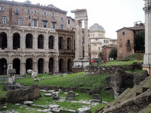 Synagogue in Rome and Theatre of Marcellus. The Synagogue view from the Theatre of Marcellus. Rome Stock Images