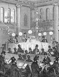 Synagogue scene. Inside a modern synagogue - in 18th century Britain, engraving from Selections from the Journal of John Wesley, 1891 Vector Illustration