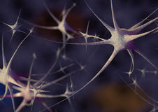 Synapse. Render of gorup of neurons Royalty Free Stock Images