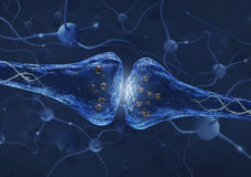 Synapse process over neuron connection background - 3D rendered image Stock Image