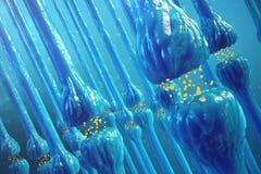 Synaptic överföring, mänsklig nervsystem Hjärnsynapses Överföringssynapse, signaler, impulser i hjärnan royaltyfri illustrationer