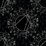 Synastry Geburts- astrologisches Diagramm des nahtlosen Musters, Sternzeichen vektor abbildung