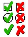 Synbol del acuerdo en rojo y verde Foto de archivo libre de regalías