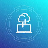 Sync with cloud icon, data upload, synchronization. Vector illustration Stock Photography