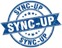 Sync-up stamp. Sync-up round grunge ribbon stamp isolated on white background Royalty Free Stock Image