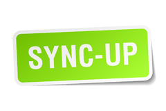 Sync-up square sticker. On white Royalty Free Stock Images