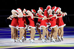 Synchro ice skaters Shining Blades Royalty Free Stock Photo