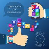 Synchro- Konzept der intelligenten Uhr Stockfoto