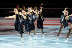 Synchro skaters Shining Blades Royalty Free Stock Image