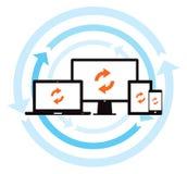 Synchronisation de sauvegarde des données de nuage illustration stock
