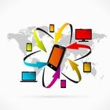 Synchronisation de téléphone portable Images libres de droits