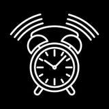 Synchronisez la découpe blanche de sonnerie d'icône d'alarme sur le fond noir de l'illustration de vecteur Images stock