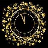 Synchronisez sur un fond noir avec des paillettes d'or Images libres de droits