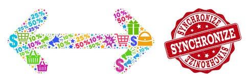 Synchronisieren Sie Collage des Mosaiks und des verkratzten Stempels für Verkäufe stock abbildung