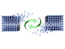 Synchronization. Two 3D-modeled sets of cubes representing synchronization between databases Stock Images