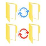 Synchronization folder icons. Set of sync folder icons. Vector illustration Stock Photos