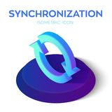 Synchronization Isometric Icon. 3D Isometric Sync Sign. Refresh Icon. Created For Mobile, Web, Decor, Print Products. Application. Perfect for web design stock illustration