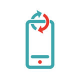 Synchronization on mobile icon vector illustration. Royalty Free Stock Images
