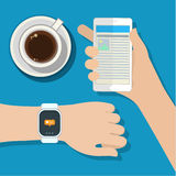 Synchronization between smartwatch and smartphone Stock Photos