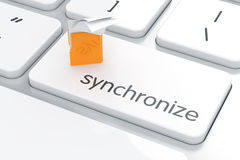 Synchronization yellow computer folder concept computer keyboard Royalty Free Stock Photo