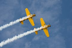 Synchronize. Two pilot make their maneuver during the Al Ain Air Show to show their tem work Stock Image