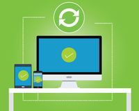 Synchronize between multiple platform. Vector flat green Stock Images