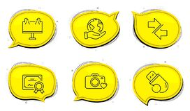 Free Synchronize, Photo Camera And Road Banner Icons Set. Flash Memory Sign. Vector Stock Photo - 173098290