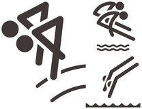 Synchronized diving icons Stock Photo