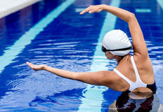 Synchronized female swimmer Stock Photo
