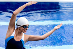 Synchronized female swimmer Stock Photos