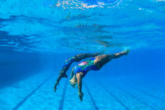 Synchronized Swim Girls Underwater. Synchronized swimming under water photo image of girls pair finalists doing  final practice dance routine upside down, side Stock Photos