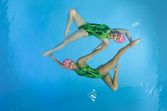 Synchronized swimmers. Hold pose for camera Royalty Free Stock Photography