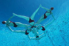 Synchronized Swimmers Forming A Star Shape. Underwater view of synchronized swimmers forming a star shape in pool Royalty Free Stock Photos